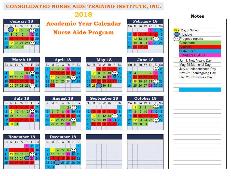 academic year calendar 2018 2019