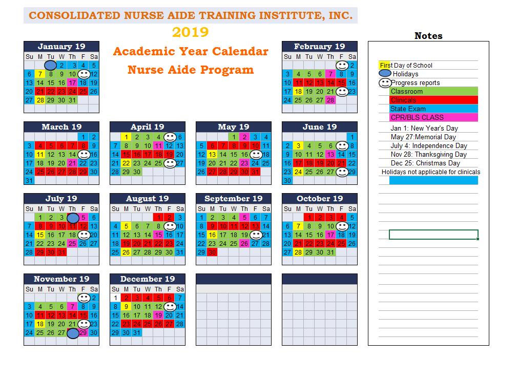 cna class calendar 2019
